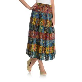 La Cera Women's Printed Drawstring Peasant Skirt