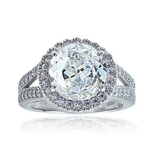 Icz Stones Sterling Silver Cubic Zirconia Round Ring