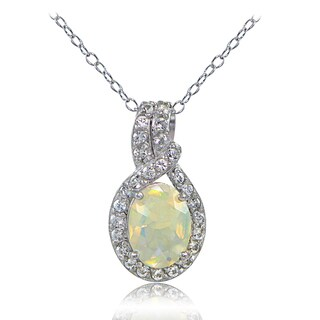 Glitzy Rocks Sterling Silver Ethiopian Opal and White Topaz Knot Necklace