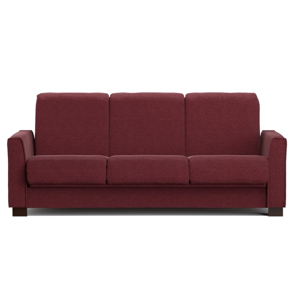 Portfolio Bryant Berry Red Chenille Convert-a-Couch Futon Sofa Sleeper