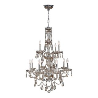 Provence Collection 12 Light Chrome Finish and Golden Teak Crystal Chandelier Two 2 Tier