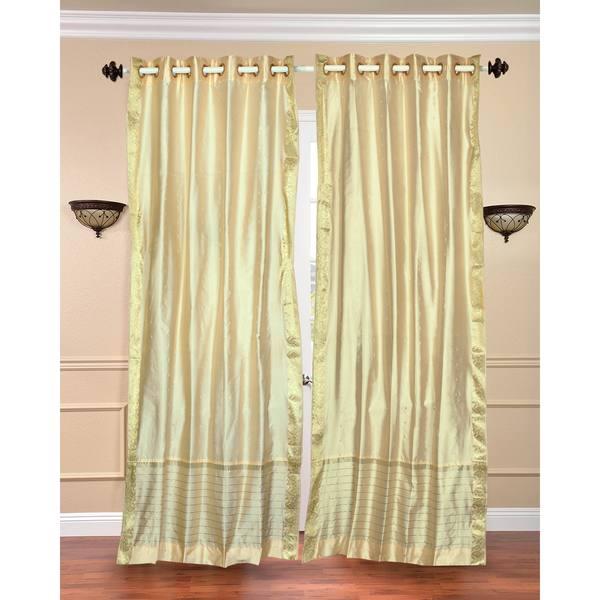 84-inch Forest Green Ring Top Sheer Sari Curtain Drape Window Panel ...