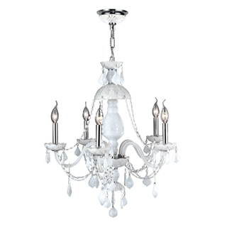 Provence Collection 5 Light Chrome Finish and White Crystal Chandelier