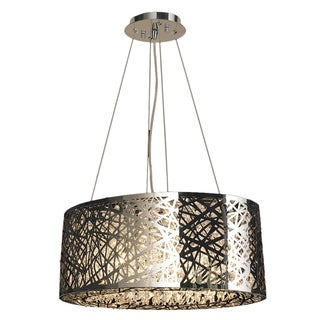 High Gloss 8 LED Light Polished Chrome Finish Clear Crystal 20-inch Round Suspension Chandelier