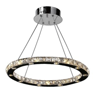 Galaxy 20 LED Light Chrome Finish Clear Crystal 20-inch Circle Suspension Chandelier