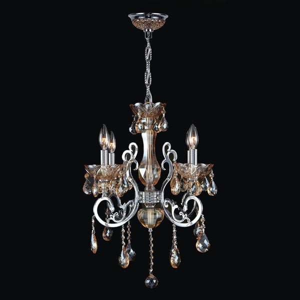 Kronos Collection 4 Light Chrome Finish and Amber Crystal Chandelier