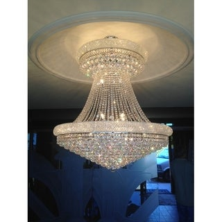 Empire Collection 28 Light Chrome Finish and Clear Crystal Chandelier