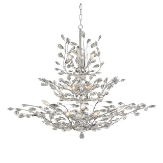 Floral Orchid Collection 18-light Chrome Finish and Clear Crystal Large Chandelier