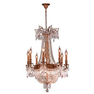 French Imperial Collection 12-light French Gold Finish with Golden Teak 24-inch Crystal Chandelier