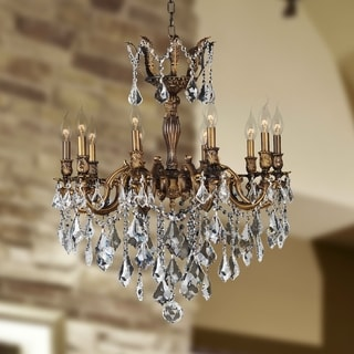 Versailles Collection 10 Light Antique Bronze Finish and Clear Crystal Chandelier