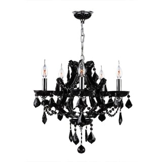 Lyre Collection 5 Light Chrome Finish and Black Crystal Chandelier