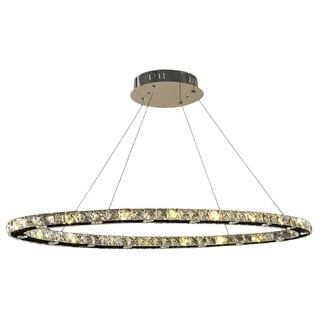 Galaxy 32 LED Light Chrome Finish Clear Crystal Oval Suspension Chandelier
