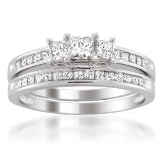 Montebello 14k White Gold 1ct TDW Princess-cut White Diamond Engagment Ring and Wedding Band Bridal Set (G-H, VS1-VS2)