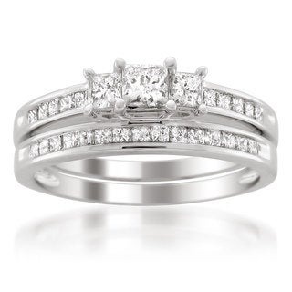 14k White Gold 1ct TDW Princess-cut White Diamond Engagment Ring and Wedding Band Bridal Set (G-H, VS1-VS2)