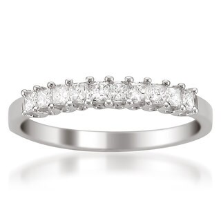 14k White Gold 1/2ct TDW Princess-cut White Diamond Wedding Band (H-I, VS1-VS2)