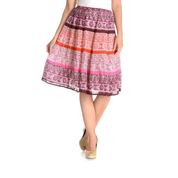 La Cera Women's Printed Peasant Skirt Pink