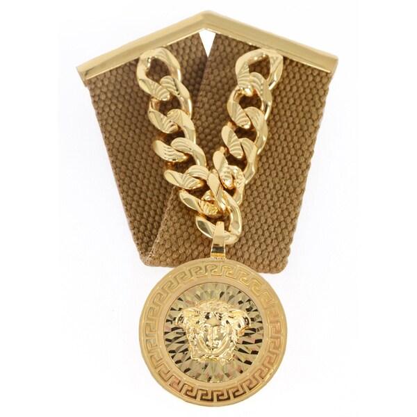 Versace Men's Chain and Medallion Goldtone Pendant