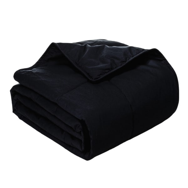 Cottonloft All Natural Down Alternative Cotton-filled Black Blanket in King (As Is Item)