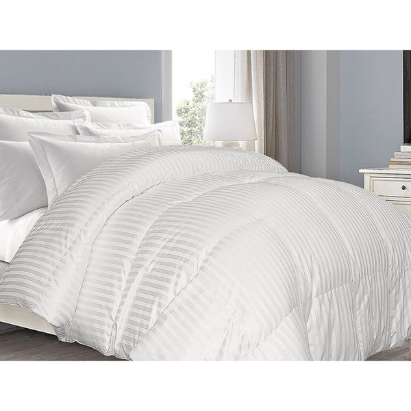 Supreme 350 Thread Count Cotton Damask White Down Comforter in King Size (As Is Item)
