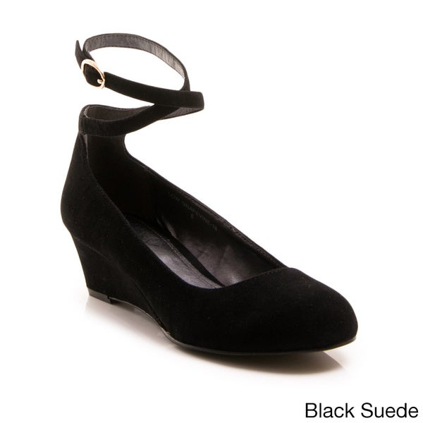 Gomax Women's Low Grapevine 18 Crossed Ankle Strap Wedges in Black Suede Size 6.5 (As Is Item)