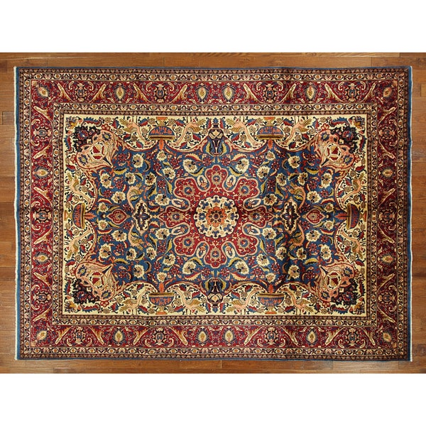 Hand-knotted New Unique Kashmar Royal Blue/ Ruby Red Oriental Wool Rug (10'x13')