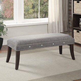 Sheila Linen Bench with Nailhead and Crystal Detail