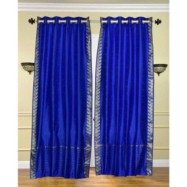 84-inch Enchanting Blue Ring Top Sheer Sari Curtain Drape Window Panel (India)