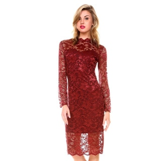 Stanzino Women's Mock Neck Long Sleeve Lace Dress