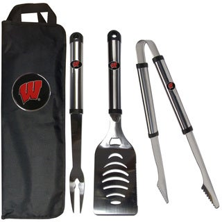 Wisconsin Badgers 3-Piece Stainless Steel Barbecue Set