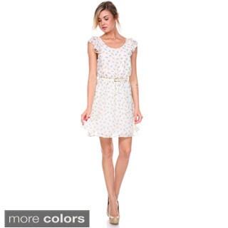 Stanzino Women's Ruffled Chiffon Mini Dress with Belt