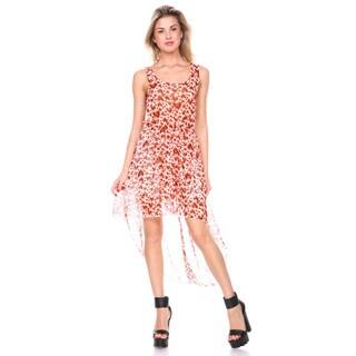 Stanzino Women's Printed Chiffon Tank Asymmetrical Dress