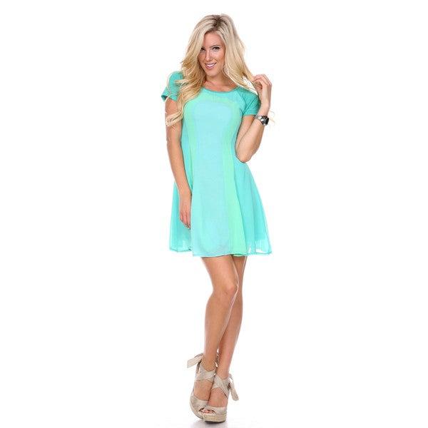 Stanzino Women's Short Sleeve Colorblock T shirt Dress
