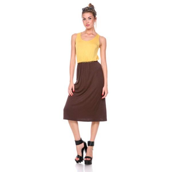 Stanzino Women's Two-tone Elastic Waist Tank Dress