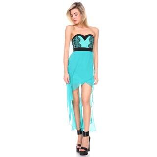 Stanzino Women's Emerald Sweetheart Asymmetrical Chiffon Dress