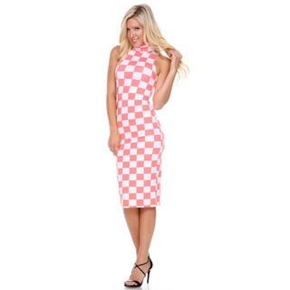 Stanzino Women's Mock Neck Checkered Midi Dress