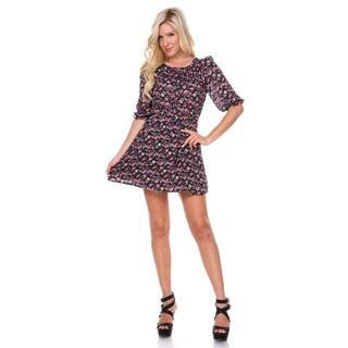 Stanzino Women's 3/4 Sleeve Floral Elastic Waist Chiffon Dress