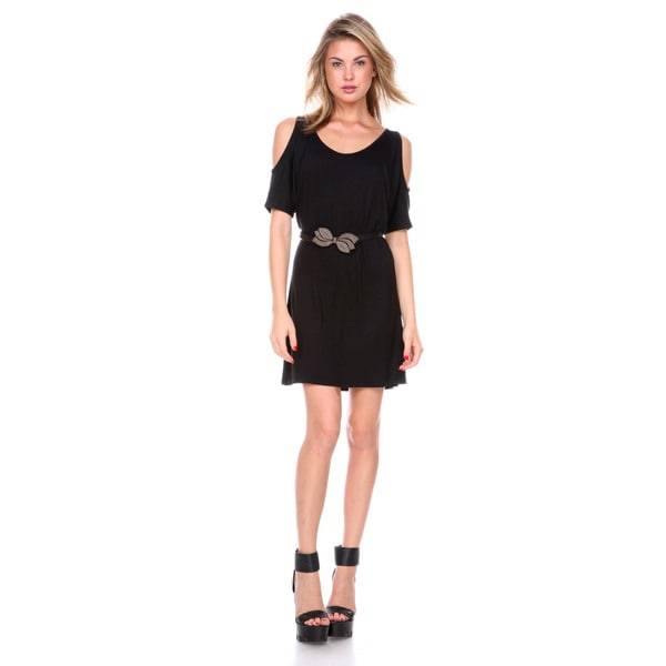 Stanzino Women's Off Shoulder Black Belted Mini Dress