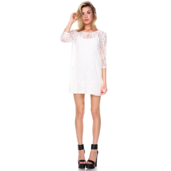 Stanzino Women's Ivory Lace Shift Dress