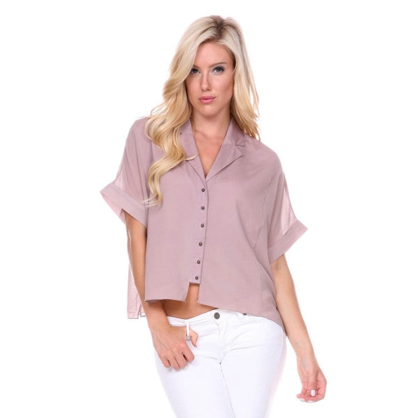 Stanzino Women's Boxy Button Down Chiffon Shirt