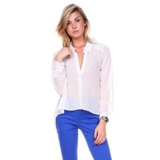Stanzino Women's Rhinestone Detailed Chiffon Button Down Shirt