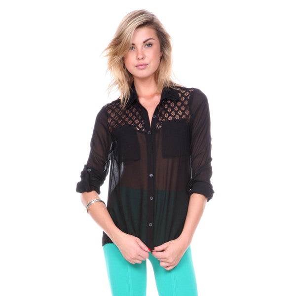 Stanzino Women's Chiffon Black Button Down Shirt