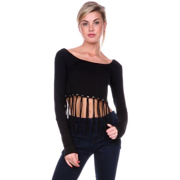 Stanzino Women's Black Fringe Crop Top