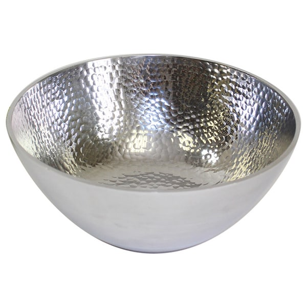 Silver Hammered Aluminum Bowls (Set of 3)
