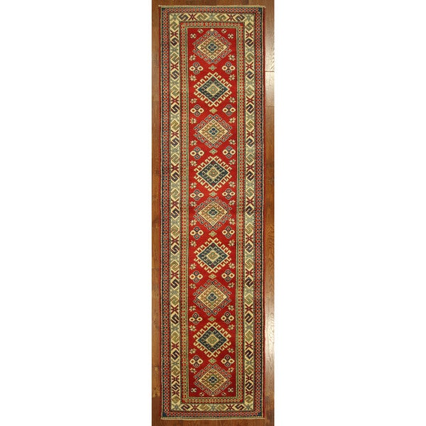 Hand-knotted Kazak Runner Red Wool Diamond Cut Oriental Rug (3' x 13')