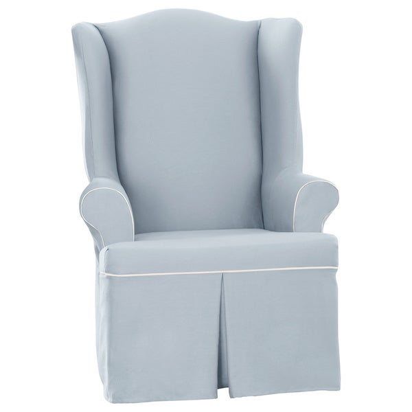 Sure Fit Cocoa Duck Wing Chair Slipcover in Sky Blue (As Is Item)