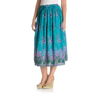 La Cera Women's Floral Printed A-Line Skirt