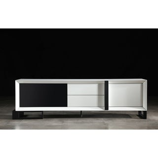 B-Modern Entertainer White/ Black Modern IR TV Stand