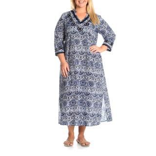 La Cera Women's Plus Size Embroidery Detail Printed Tunic Dress