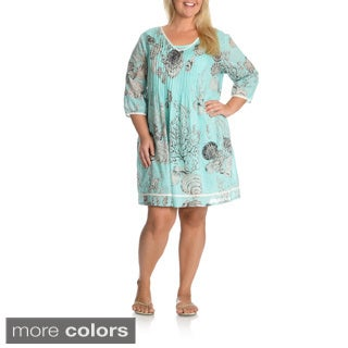 La Cera Women's Plus Size Printed Tunic Dress