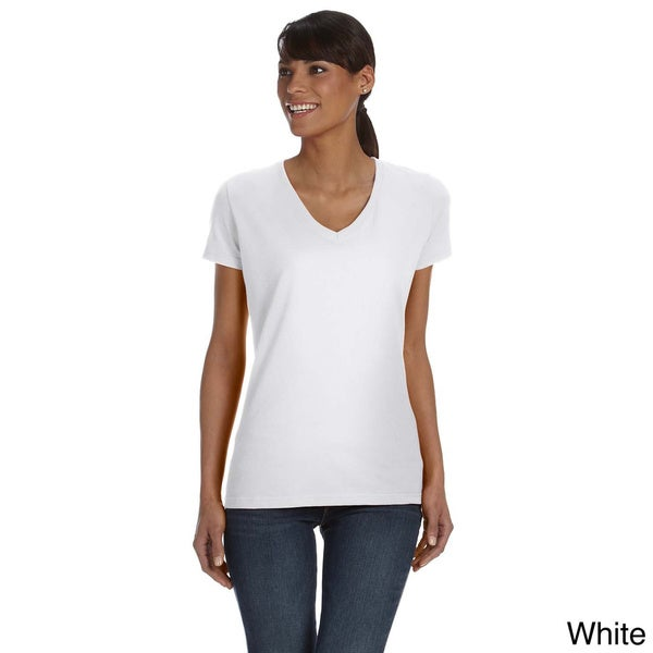 Ladies' 5 oz., 100 Heavy Cotton HD V-Neck T-Shirt in White Large (As Is Item)